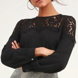 NWT Lulu's Black Long Sleeve Lace Top